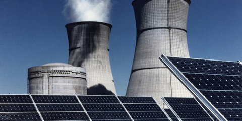 nuclear power plant and solar panels